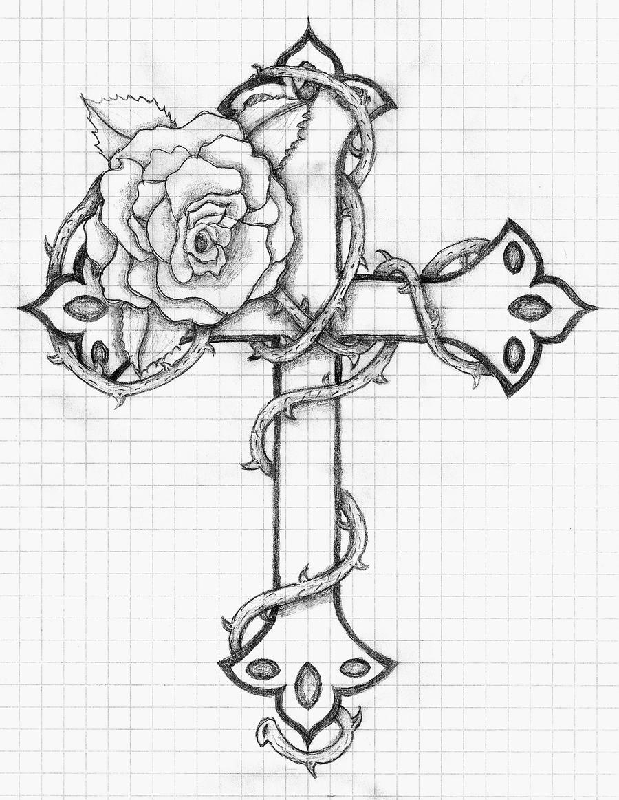 coloring pages of crosses - rose and cross by balloon fiasco on deviantart