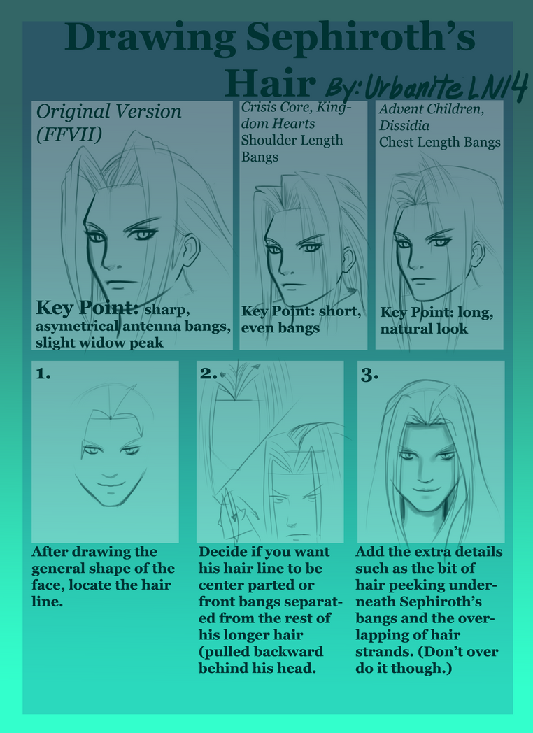 Drawing Sephiroth's Hair (updated version) by morikun-rinari