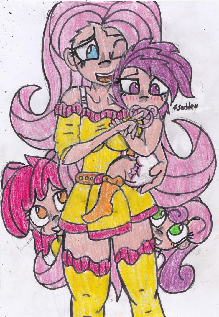 Mommy Fluttershy With Scootaloo 2 By Cuddlelamb On