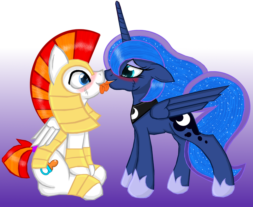 My Little Pony Princess Celestia And Princess Luna Kiss
