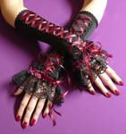 Black burgundy corset gloves