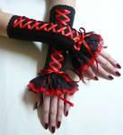 Corset gloves black red
