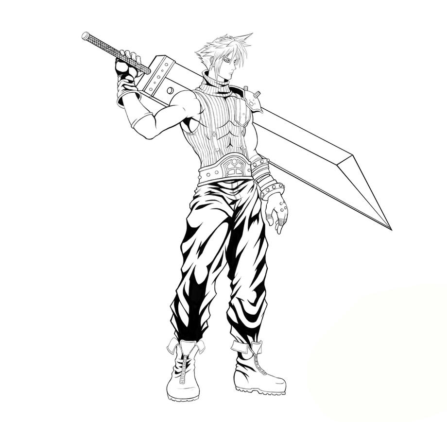 FF 7 - Cloud Strife (Full) Line Art by SoulStryder210