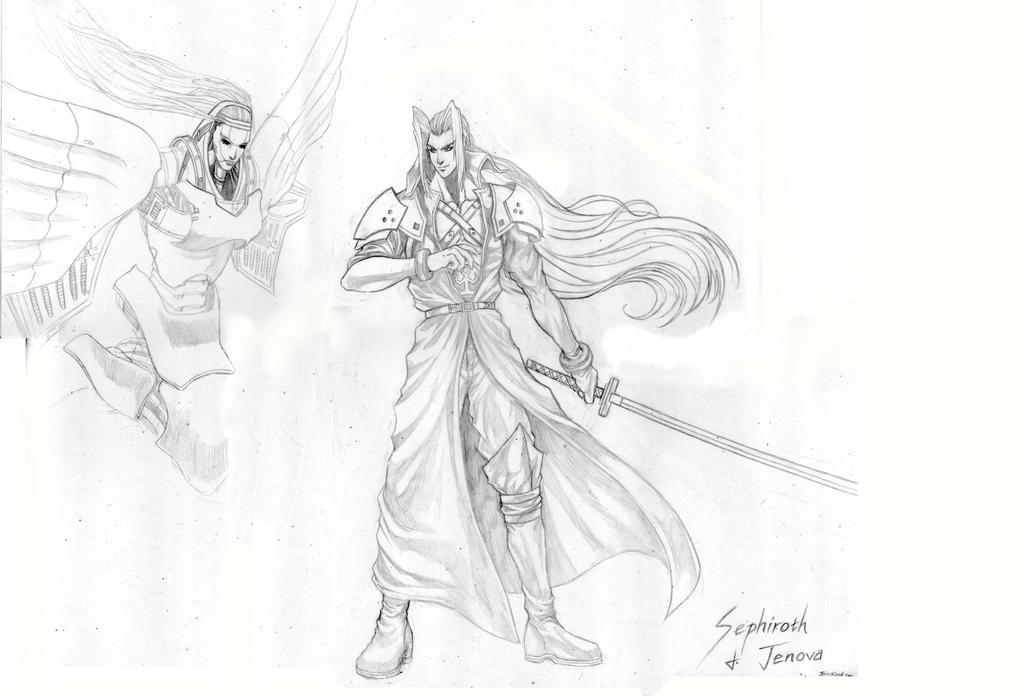 FF 7 - Sephiroth + Jenova (Sketch) by SoulStryder210