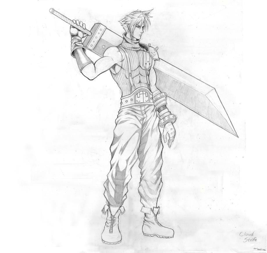 FF 7 - Cloud Strife (Full) Sketch by SoulStryder210