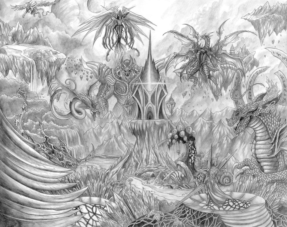Realms of the Spectrum (Age of the Animus)Line Art by SoulStryder210