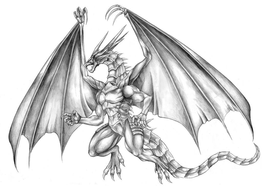 Final Fantasy VII - Bahamut (Mega Flare) Line Art by SoulStryder210