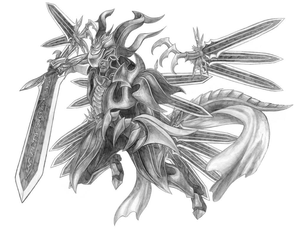 Final Fantasy XV - Bahamut (Ultima Sword) Line Art by SoulStryder210