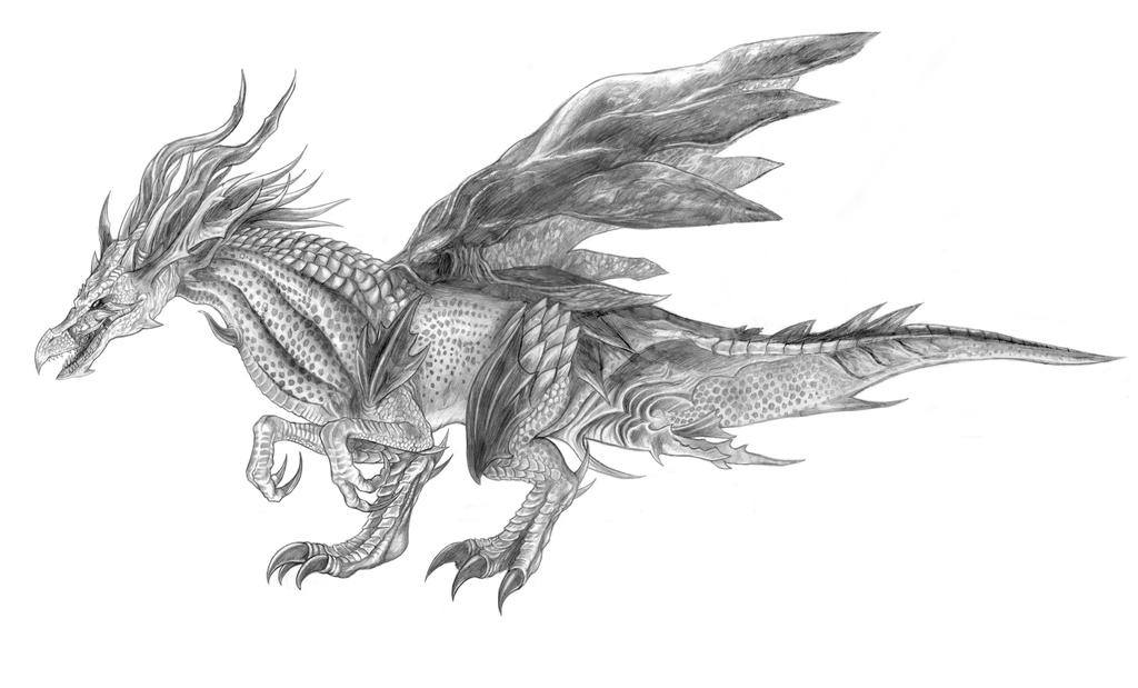 Final Fantasy XV - Jabberwock (Line Art) by SoulStryder210