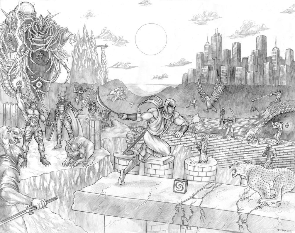 Ninja Gaiden (Legend of the Ninja Dragon) Line Art by SoulStryder210