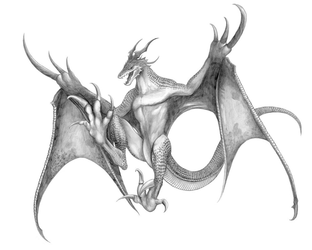 Final Fantasy XV - Wyvern (Line Art) by SoulStryder210