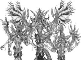 Final Fantasy XIII-2 - Jet Bahamut (Line Art) by SoulStryder210
