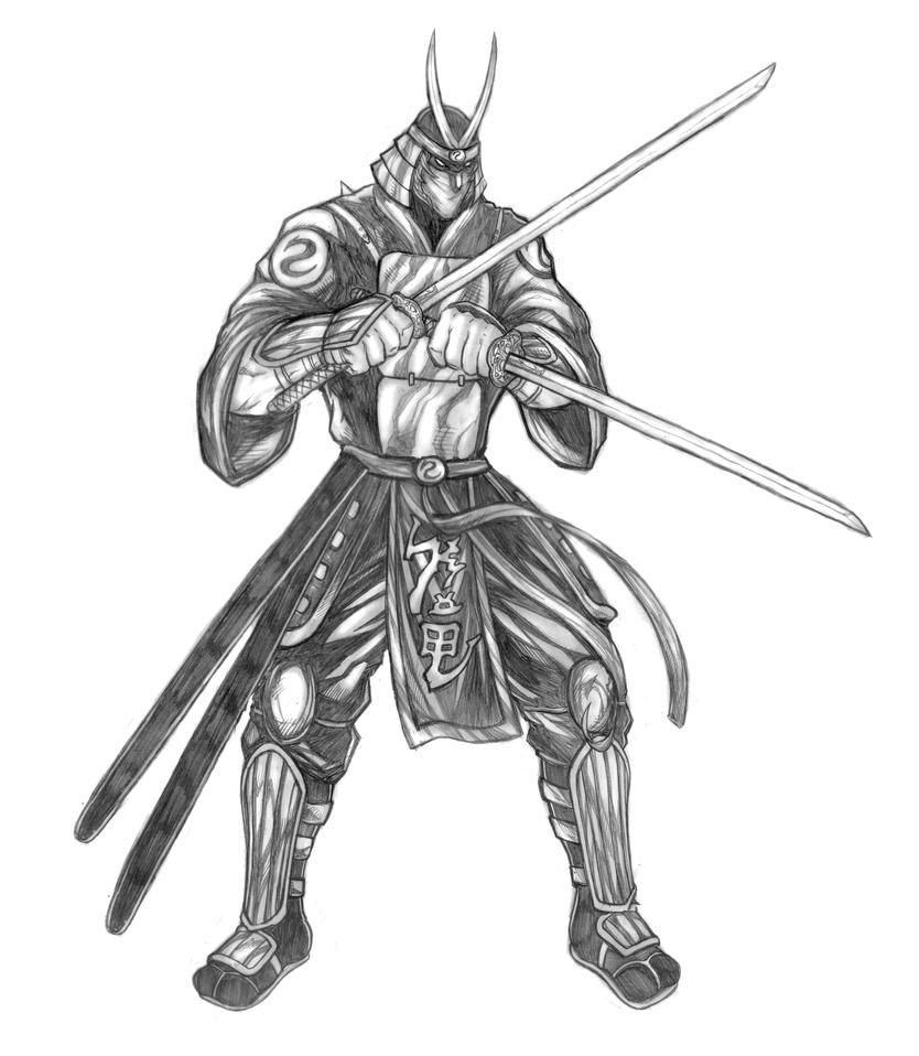 Gelsai Tokisadi (Warriors of Chaos) Boss -Line Art by SoulStryder210