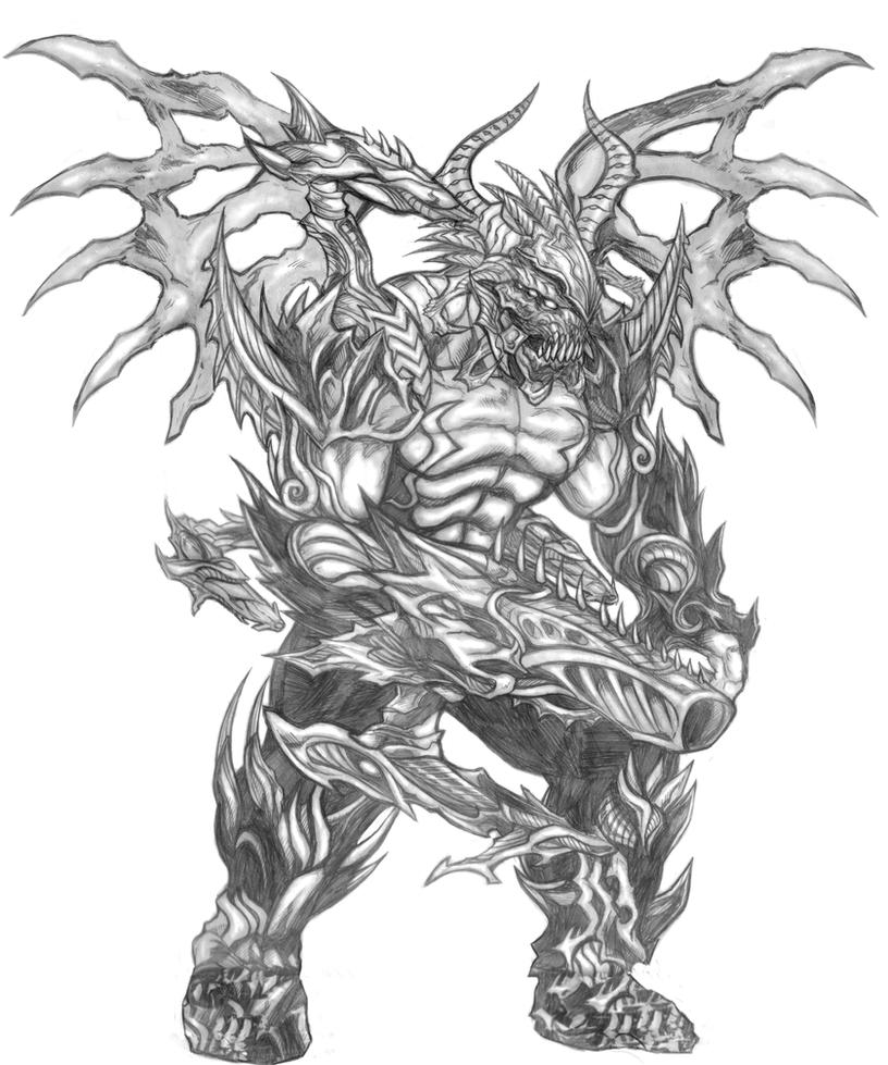 Armageddon (Warriors of Chaos) Line Art by SoulStryder210