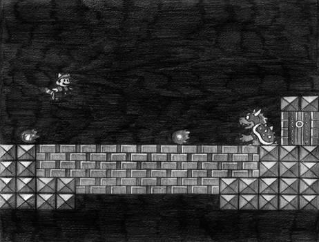 Super Mario 3 (Bowser) NES Line Art