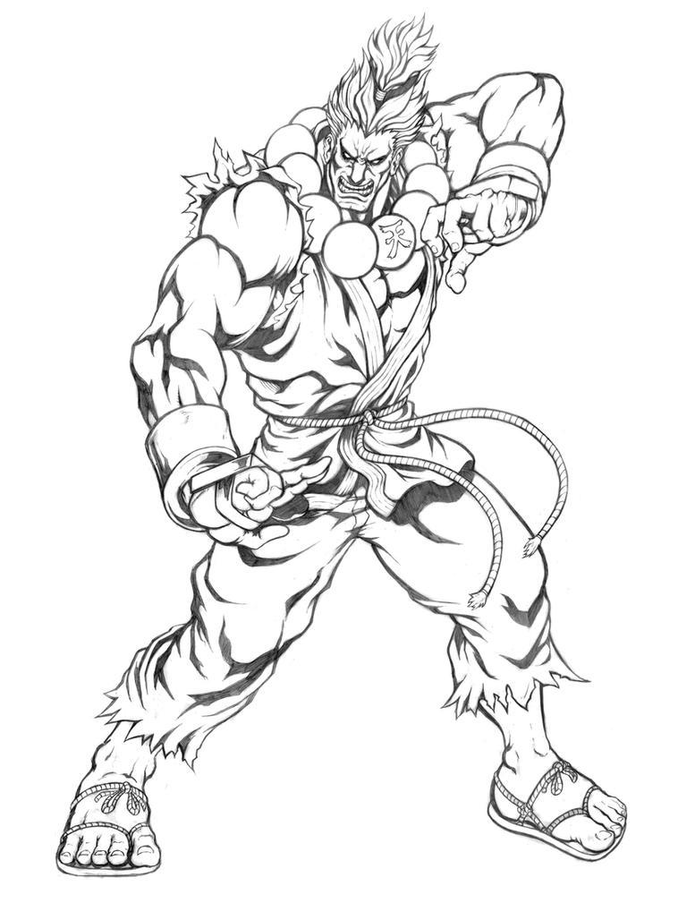 Akuma (Super Street Fighter II Turbo X) Line Art by SoulStryder210
