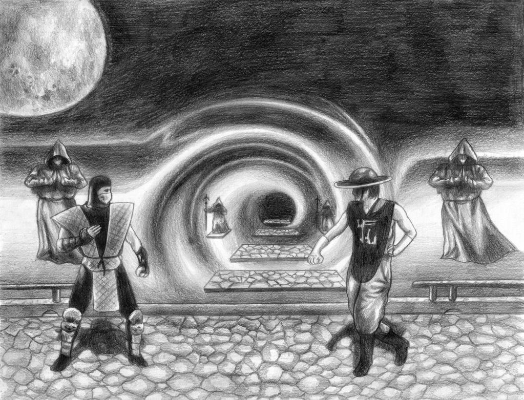 Mortal Kombat II (Scorpion Vs Kung Lao) Line Art by SoulStryder210