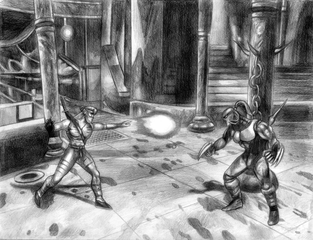 Killer Instinct (Jago Vs Fulgore) Line Art by SoulStryder210