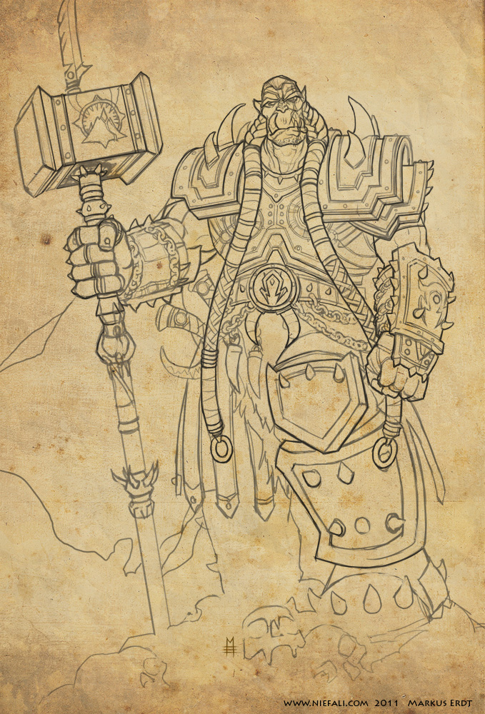 Orgrim Doomhammer - Lineart by Vaejoun