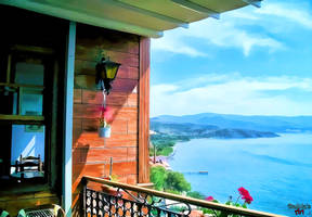 Balcony with sea view, island lesbos-Greece by makiskan