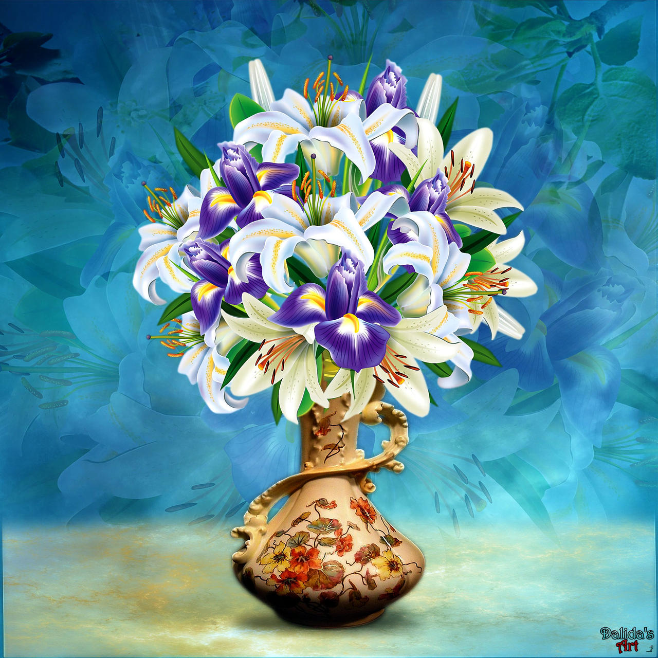 Vase with flowers (3) Purple Iris