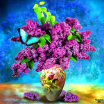 Vase with flowers (5) Bouquet Purple Lilac