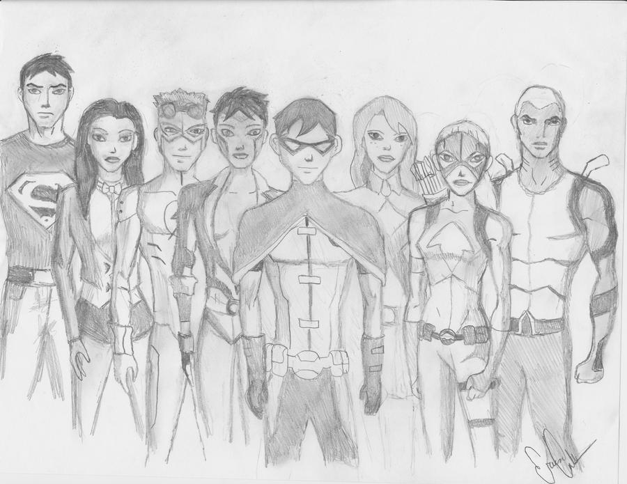 Young Justice Printable Best Of Coloring Pages: The Team By Gtgrandom On DeviantArt