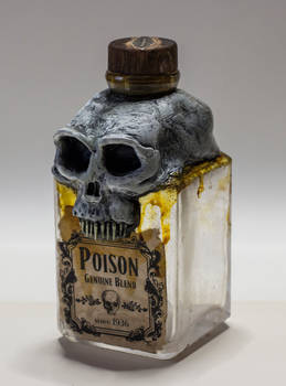 Skull Poison Bottle Vintage Pirate Sculpture