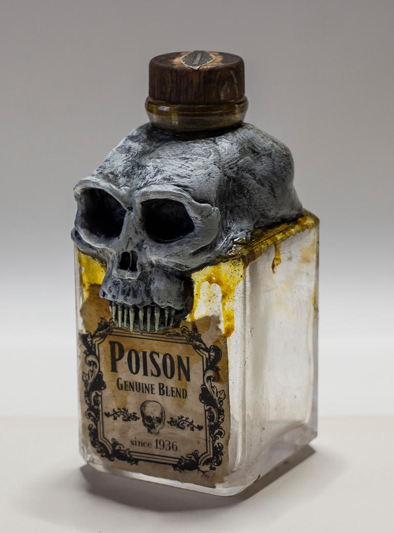 Skull Poison Bottle Vintage Pirate Sculpture by FraterOrion