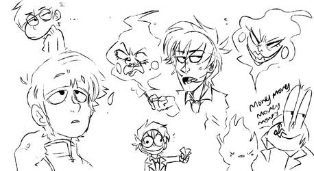 Mob Psycho sketches by Choco-Floof