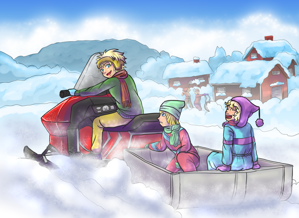 Sneaking onto the snowmobile by Lord-Evell