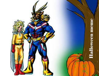.Com Halloween Mags Punch and Leomon Might by Lord-Evell