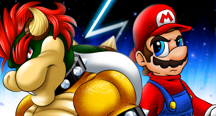 Epic Bowser and Mario collab by Bowser2Queen