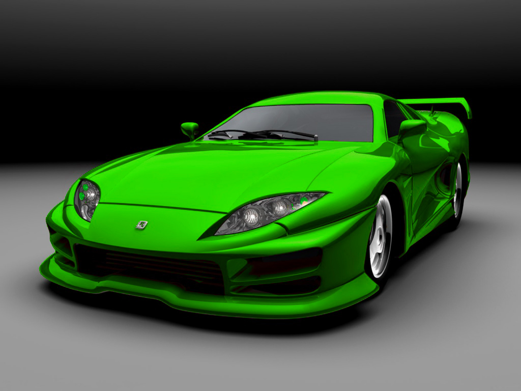 Green Sports Car by