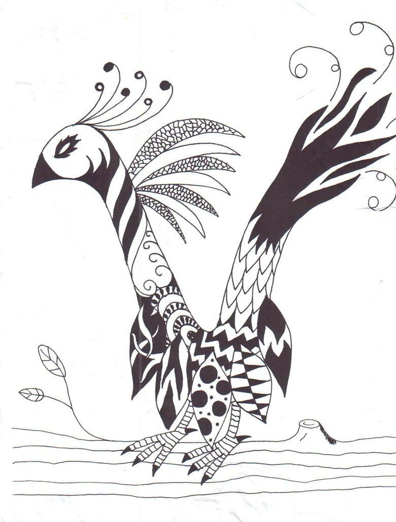 Fantasy Bird In The Letter V By WickedVodka