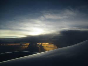 Dawn on a plane