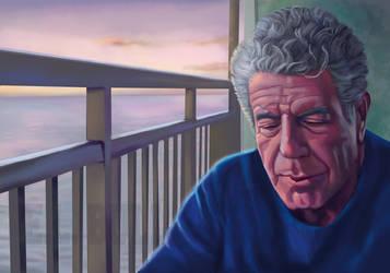 Anthony Bourdain portrait by paintgirl