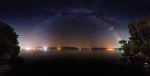Milky way over river Danube