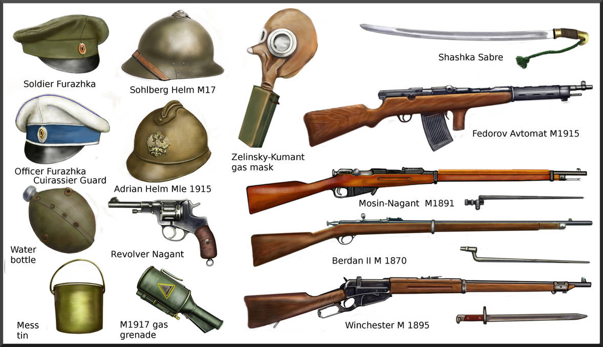 ww1 weapons russian equipment army war deviantart military andreasilva60 ww2 wwi infantry melee revolution 1917 history hungarian guns french rifles