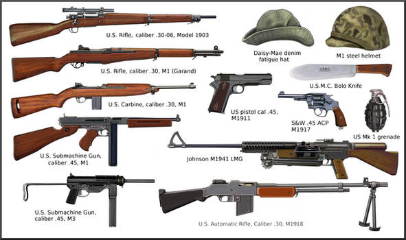 ww2 US ARMY and USMC individual weapons