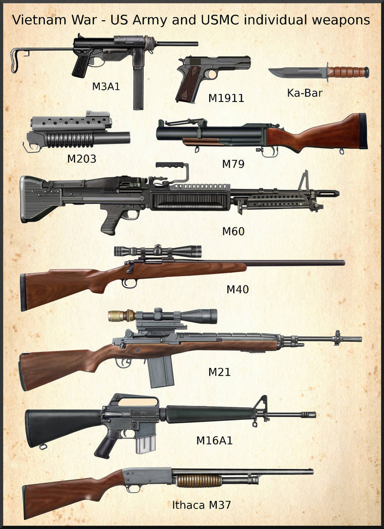 Vietnam War - US Army and USMC weapons by AndreaSilva60 on DeviantArt