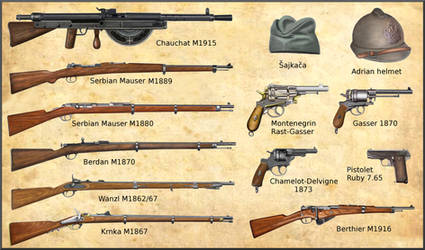 ww1 Serbian and Montenegro Armies weapons by AndreaSilva60
