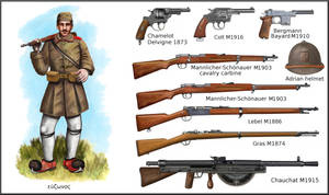 WWI Greek weapons and Evzone soldier by AndreaSilva60