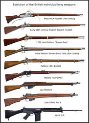 Evolution of the British army long weapons