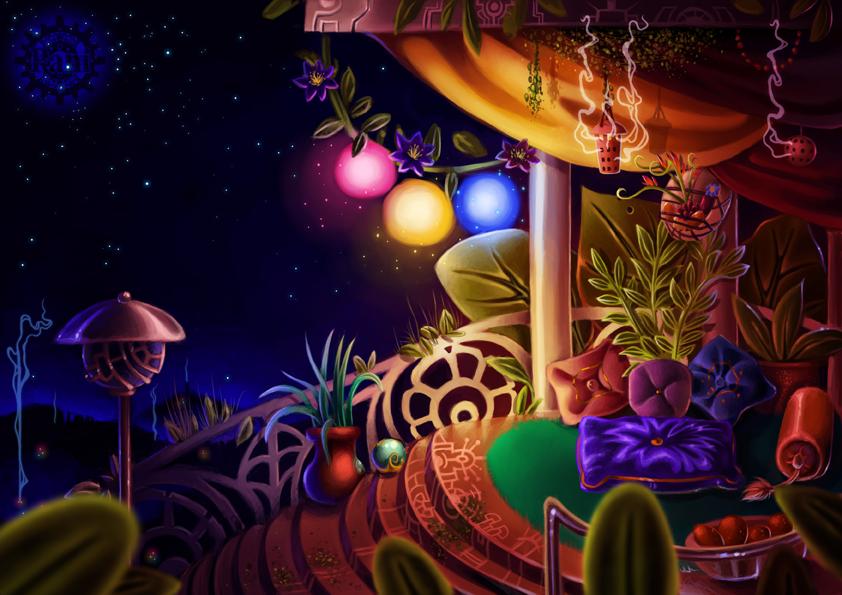Room conceptart of Matahari-maa by Pfauenauge
