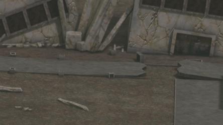 pre-rendered 3d battle background (city ruins)