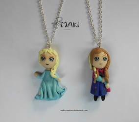 Elsa and Anna  Frozen by Makicreazion