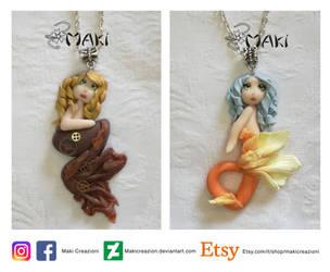steampunk mermaid and orange mermaid by Makicreazion