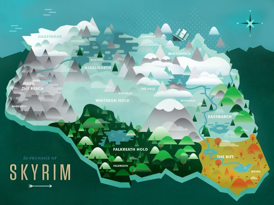 Epic Map Of Skyrim that I found by TwoScoopsXD