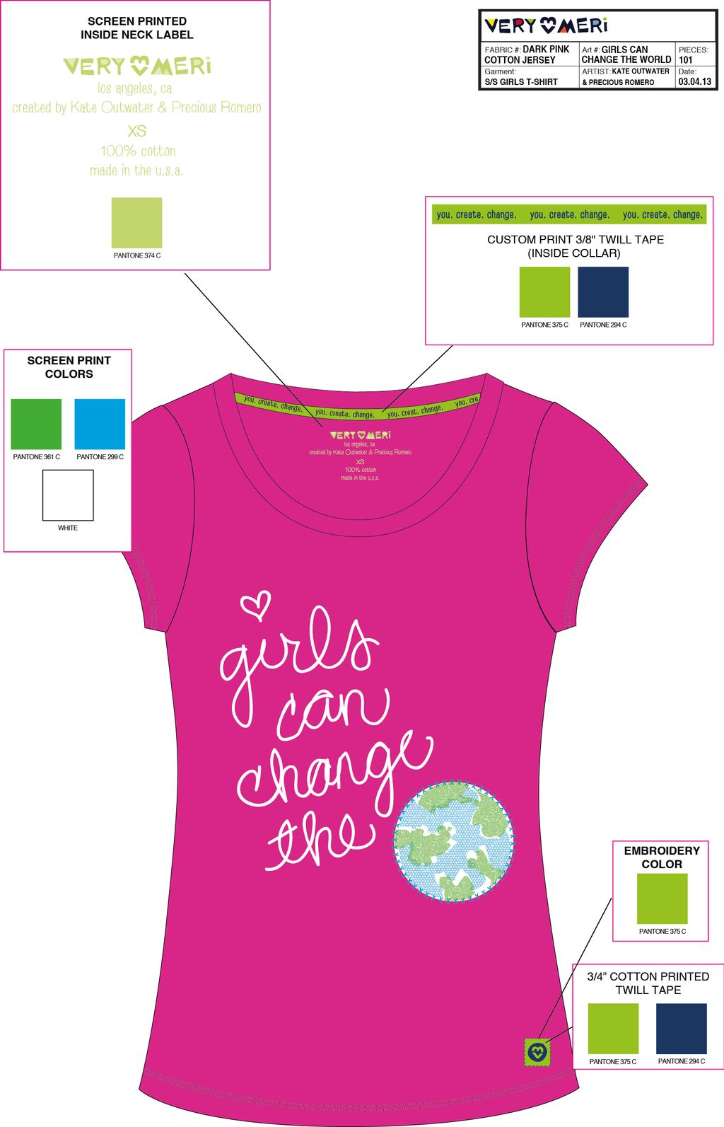 Ss Girls Change The World Drk Pink V3 by JaxBnice